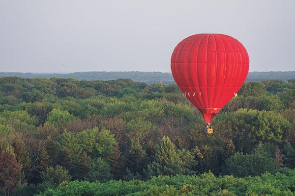 Röd luftballong över skog