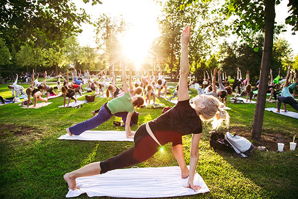 yoga class outside in park
